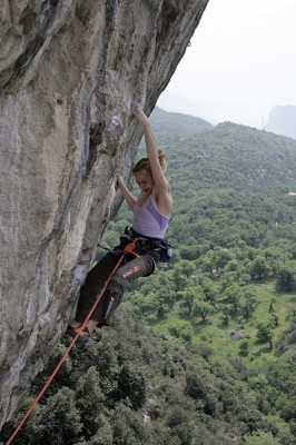 Angy climbing Claudio Caffè in Arco, one of her two 8c+ redpoints © Bernie Ruech